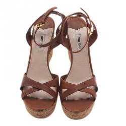 Miu Miu Brown Leather and Jute Strappy Espadrille Wedge Sandals Size 40