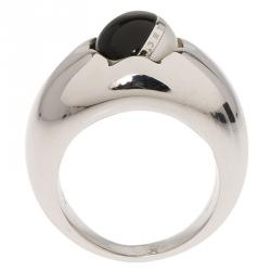Montblanc Rotating Sphere in Onyx and Pearl Cabochon Silver Ring Size 56