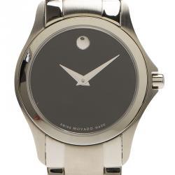 Movado Black Stainless Steel Museum 84 E4 1849 Women's Wristwatch 28MM