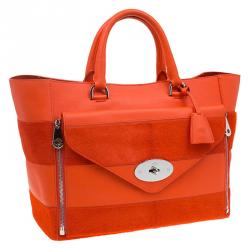 Mulberry Orange Calfhair Stripe and Leather Willow Tote