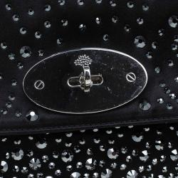 Mulberry Black Satin Embellished Clemmie Clutch