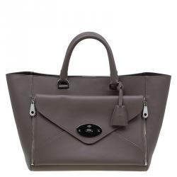 fafd065f65 Sold. Mulberry Taupe Leather Willow Tote