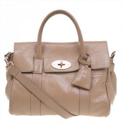 Mulberry Blush Pink Wrinkled Patent Leather Small Bayswater Satchel