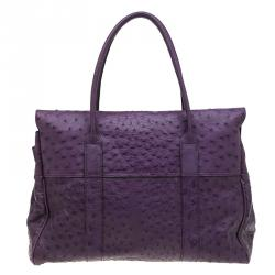 Mulberry Purple Ostrich Leather Bayswater Satchel