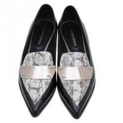 Nicholas Kirkwood Black Snake Embossed Leather Platino Strap Loafers Size 39