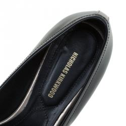 Nicholas Kirkwood Black Snake Embossed Leather Platino Strap Loafers Size 39