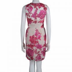 Marchesa Notte Beige Contrast Floral Embroidered Embellished Dress S