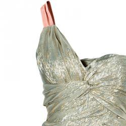 Oscar de la Renta Gold One Shoulder Dress M
