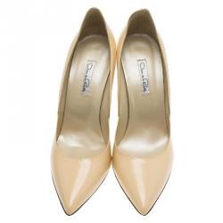 Oscar De La Renta Beige Patent Sabrina Pointed Toe Pumps Size 40