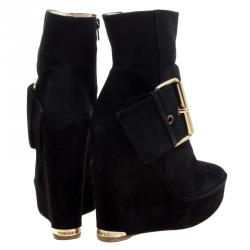 Paloma Barceló Black Suede Annapurna Wedge Ankle Boots Size 37