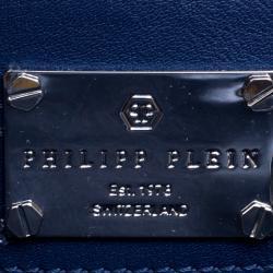 Philipp Plein Blue Denim Skully Shopper Tote
