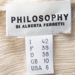 Philosophy Di Alberta Feretti Beige Embroidery Detail Sleeveless Sheer Top M