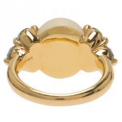 Pomellato Luna Moonstone and Aquamarine Rose Gold Ring Size 52