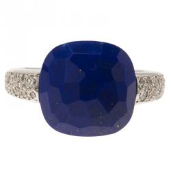 Pomellato Capri Diamond & Lapis Lazuli White Gold Ring Size 52.5