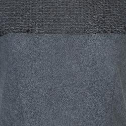 Prabal Gurung Grey Embroidered Mesh Insert Wool Dress S