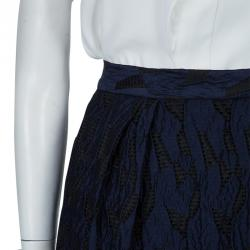 Prabal Gurung Navy Blue Textured Ruffle Bottom Asymmetric Skirt S