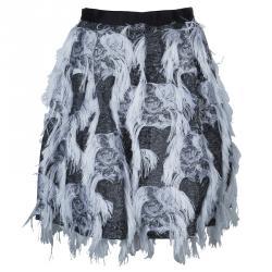 Prabal Gurung Grey Fringe Detail Skirt M