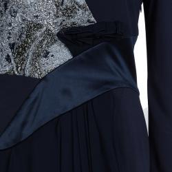 Prabal Gurung Navy Blue Brocade Detail Dress M