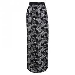 Prabal Gurung Black Metallic Floral Textured Maxi Skirt M