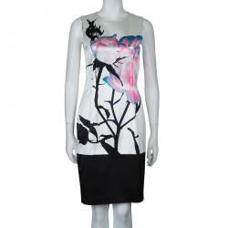 Prabal Gurung White Digital Floral Print Sleeveless Dress S