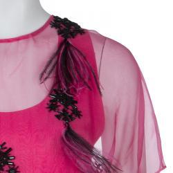 Prabal Gurung Pink Embellished Feather Detail Silk Dress M