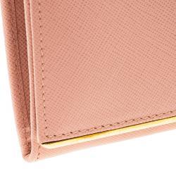 Prada Blush Pink Saffiano Leather Metal Detail Organizer Wallet