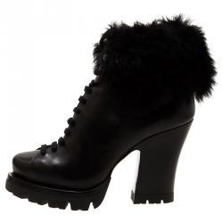Prada Black Fur Ankle Lace Up Platform Boots Size 37