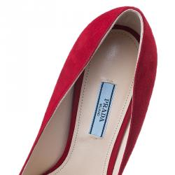 Prada Red Suede Pointed Toe Pumps Size 39.5