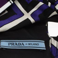 Prada Purple Printed Pleated Satin Turban Size M