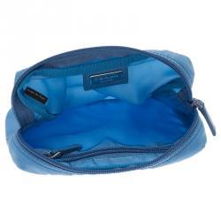 Prada Blue Nylon Vela Cosmetic Pouch