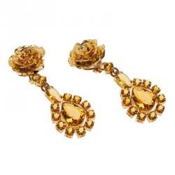 Prada Rose Gold Tone Crystal Resin Clip Earrings