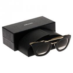 Prada Black and Gold SPR 09Q Cat Eye Sunglasses