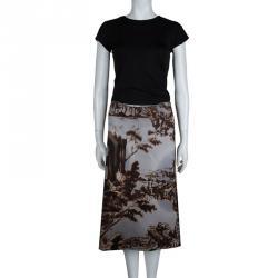 Prada Multicolor Digital Landscape Print Skirt S