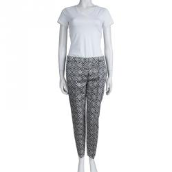 Prada Monochrome Diamond Printed Tailored Trousers S