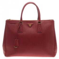 Prada Red Saffiano Lux Leather Large Double Zip Tote c315b02738531