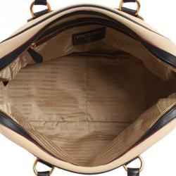Prada Bicolor Canvas and Leather Trim Bowler Bag