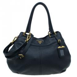 Prada Black Pebbled Leather Sacca 2 Manici Shoulder Bag