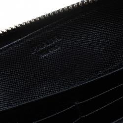 Prada Black Saffiano Leather Zip Around Wallet