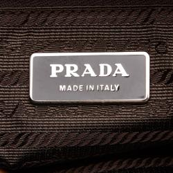 Prada Brown Leather and Nylon Shoulder Bag