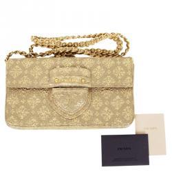 Prada Gold Broccato Corda CL Shoulder Bag With Chain