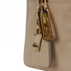 Prada Beige Sabbia Saffiano Lux Leather Executive Tote Bag