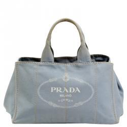 Prada Grey Canvas Tote Bag