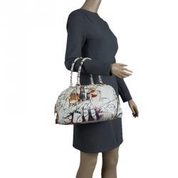 Prada Beige Astro Cervo Lux Leather Limited Edition Fairy Print Bowler Bag 3bef0a89a1ab0