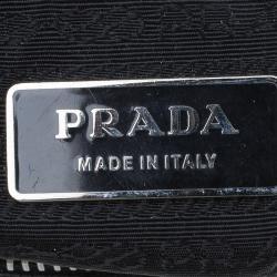 Prada Black Leather Studded Shoulder Bag