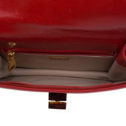 Prada Red Leather Madras Shoulder Bag