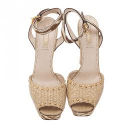 Prada Beige Raffia Ankle Strap Sandals Size 40.5
