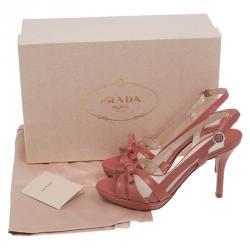 Prada Pink Patent Bow Detail Slingback Sandals Size 36