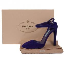 Prada Purple Suede Ankle Strap Pumps Size 37.5