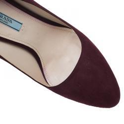 Prada Burgundy Suede Almond Toe Pumps Size 39
