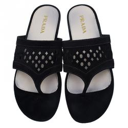Prada Black Suede Perforated Thong Sandals Size 38